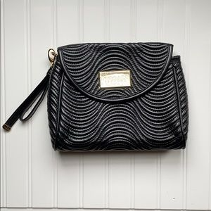 NWOT Versace Parfums Black leather quilted clutch